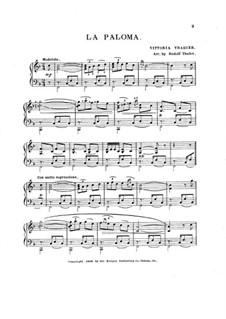 La Paloma (The Dove): F Major by Sebastián Yradier