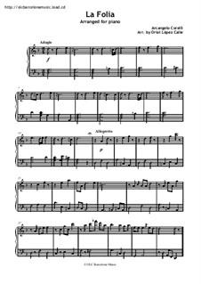 Sonata No.12 'La Folia': For piano by Arcangelo Corelli