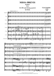 Missa Brevis for SATB and Strings, CS003: No.1 Kyrie by Santino Cara
