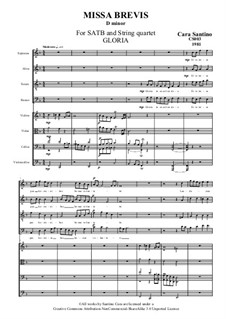 Missa Brevis for SATB and Strings, CS003: No.2 Gloria by Santino Cara