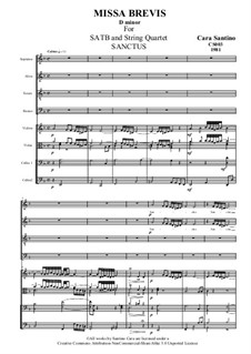 Missa Brevis for SATB and Strings, CS003: No.3 Sanctus by Santino Cara
