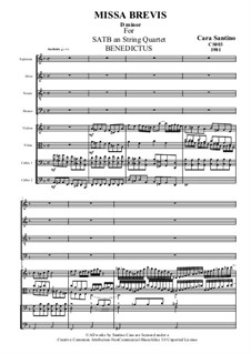 Missa Brevis for SATB and Strings, CS003: No.4 Benedictus by Santino Cara
