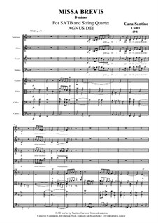 Missa Brevis for SATB and Strings, CS003: No.5 Agnus Dei by Santino Cara