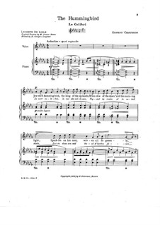 Seven Melodies for Voice and Piano, Op.2: No.7 Le colibri by Ernest Chausson