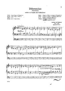 Diferencias sobre el canto llano del Caballero: For organ by Antonio de Cabezón