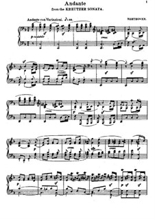 Sonata for Violin and Piano No.9 'Kreutzer', Op.47: Movement II. Version for piano by Ludwig van Beethoven