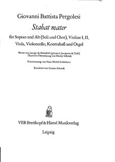 Stabat Mater: Piano-vocal score (German and latin texts) by Giovanni Battista Pergolesi
