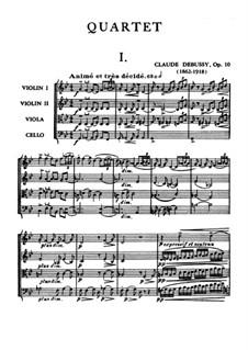 String Quartet No.1 in G Minor, L.85 Op.10: Full score by Claude Debussy