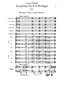 Symphony No.8 in E Flat Major: Movement I, for voices and piano by Gustav Mahler