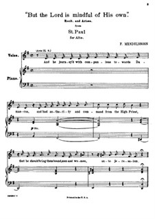 St. Paul, Op.36: But the Lord is Mindful of His Own, for contralto and piano by Felix Mendelssohn-Bartholdy