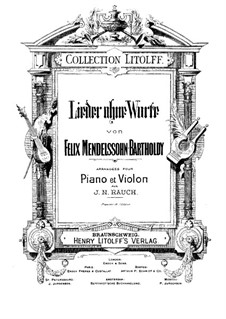 Selected Songs without Words for Violin and Piano: Score by Felix Mendelssohn-Bartholdy
