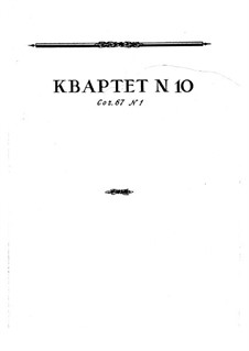 String Quartet No.10, Op.67 No.1: String Quartet No.10 by Nikolai Myaskovsky