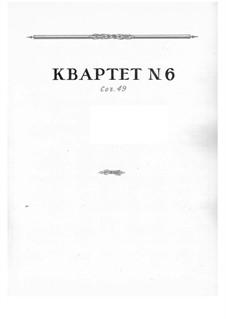 String Quartet No.6, Op.49: Full score by Nikolai Myaskovsky