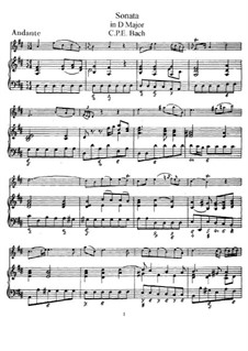 Sonata for Flute and Harpsichord in D Major, H 561 Wq 131: Score, solo part by Carl Philipp Emanuel Bach