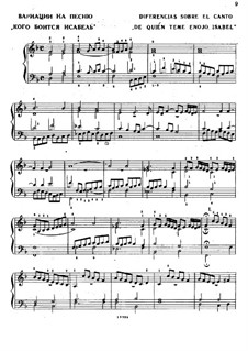 Variations on the Song 'Who is Afraid of Isabel': Variations on the Song 'Who is Afraid of Isabel' by Antonio de Cabezón