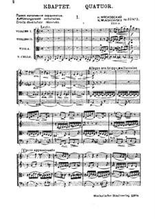Four String Quartets, Op.33: Quartet No.3 by Nikolai Myaskovsky