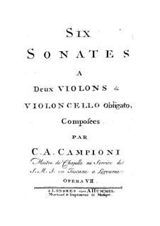Sonatas for Two Violins and Cello, Op.7: Sonatas for Two Violins and Cello by Carlo Antonio Campioni