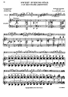 O Star of Eve: For cello and piano by Richard Wagner