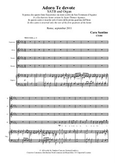 Adoro Te devote. SATB and organ: Adoro Te devote. SATB and organ by Santino Cara