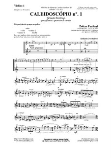 Kaleidoscope (Caleidoscópio) No.1 for flute and string quartet: Parts by Zoltan Paulinyi