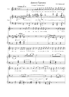Arioso of Herman 'I Don't Even Know Her Name': Piano-vocal score by Pyotr Tchaikovsky