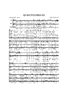 Quam pulchra es: Vocal score by John Dunstable