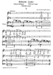 Biblical Songs, Op.99: No.1-5, for Voice and Piano, B.185 by Antonín Dvořák
