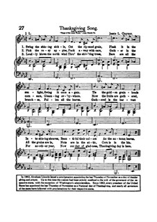 Thanksgiving Song: Thanksgiving Song by Jessie L. Gaynor