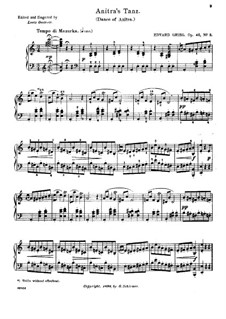 Suite No.1. Anitra's Dance, Op.46 No.3: For piano by Edvard Grieg