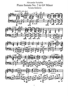 Sonata for Piano No.2, Op.19: For a single performer by Alexander Scriabin