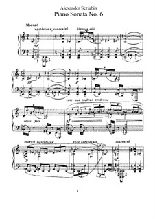 Sonata for Piano No.6, Op.62: For a single performer by Alexander Scriabin
