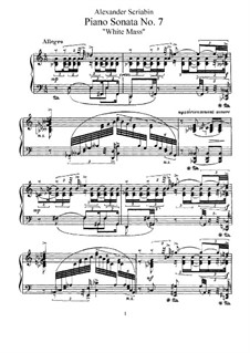 Sonata for Piano No.7 'White Mass', Op.64: For a single performer by Alexander Scriabin