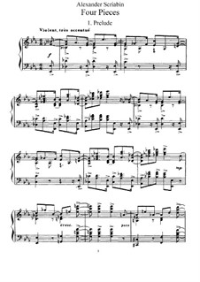 Four Pieces, Op.56: For piano by Alexander Scriabin
