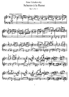 Two Pieces for Piano, Op.1: No.1 Scherzo à la russe, TH 124 by Pyotr Tchaikovsky