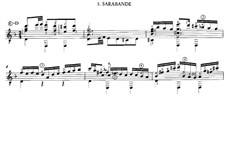 Suite for Lute in C Minor: Saraband. Arrangement for guitar by Johann Sebastian Bach