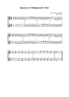Canon a 2 perpetuus, BWV 1075: Vocal score by Johann Sebastian Bach