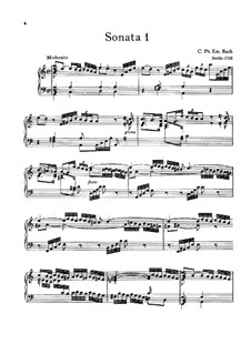 Six Württemberg Sonatas, H 30-34, 36, Wq 49: For piano by Carl Philipp Emanuel Bach