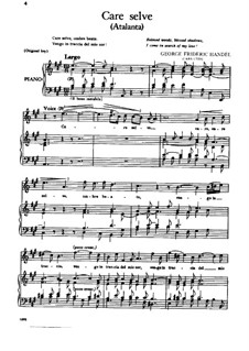 Atalanta, HWV 35: Care Selve, for Voice and Piano by Georg Friedrich Händel