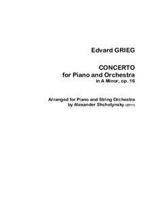 Piano Concerto in A Minor, Op.16: Arrangement for piano and strings by Edvard Grieg