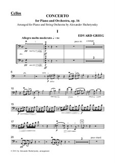Piano Concerto in A Minor, Op.16: Version for piano and strings - cellos part by Edvard Grieg
