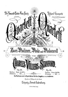 String Quartet No.1 in G Major, Op.44: Parts by Charles Villiers Stanford