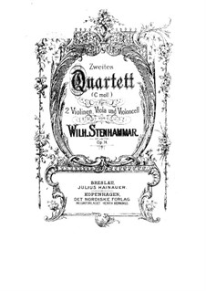 String Quartet No.2 in C Minor, Op.14: Parts by Wilhelm Stenhammar