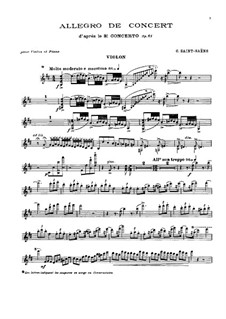 Concerto for Violin and Orchestra No.3 in B Minor, Op.61: Version for violin and piano by Camille Saint-Saëns