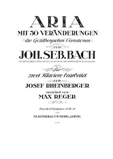 Goldberg Variations, BWV 988: Arrangement for two pianos four hands by Johann Sebastian Bach