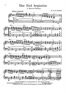 Blue Bird Inspiration. A Musical Fantasia for Piano: Blue Bird Inspiration. A Musical Fantasia for Piano by M. H. Ryder