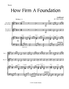 How Firm A Foundation: For recorder and piano by Joseph Funk