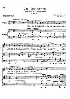 Che fiero costume: Version for voice and piano (G Minor) by Giovanni Legrenzi