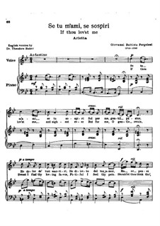 Se tu m'ami, se sospiri: Piano-vocal score (G Minor) by Giovanni Battista Pergolesi