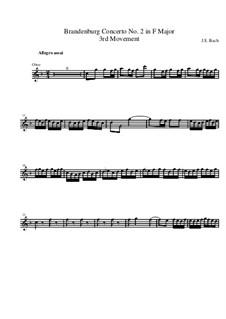 Brandenburg Concerto No.2 in F Major, BWV 1047: Movement III – oboe part by Johann Sebastian Bach
