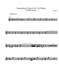 Brandenburg Concerto No.2 in F Major, BWV 1047: Movement III – violin I ripieno part by Johann Sebastian Bach